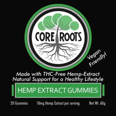 core roots cbd vegan gummies front label