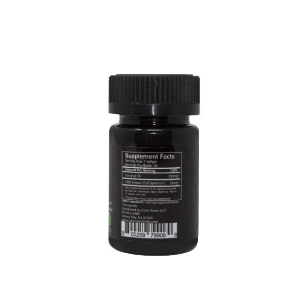 Core Roots CBD capsules 25mg back label